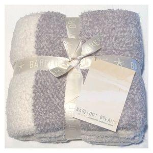 BAREFOOT DREAMS Cream Gray Striped Throw Blanket